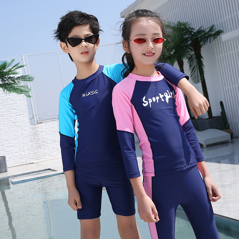 Children Sun-resistant Bathing Suit Tour Bathing Suit Long Sleeve Trousers Split Type BOY'S Girls Universal Jellyfish Clothing S