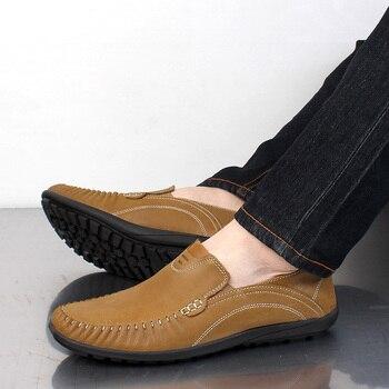 Fashion Men Shoes Men Casual Shoes Genuine Leather Men Loafers Moccasins Slip On Men'S Flats Male Driving Shoes Plus Size 37-46
