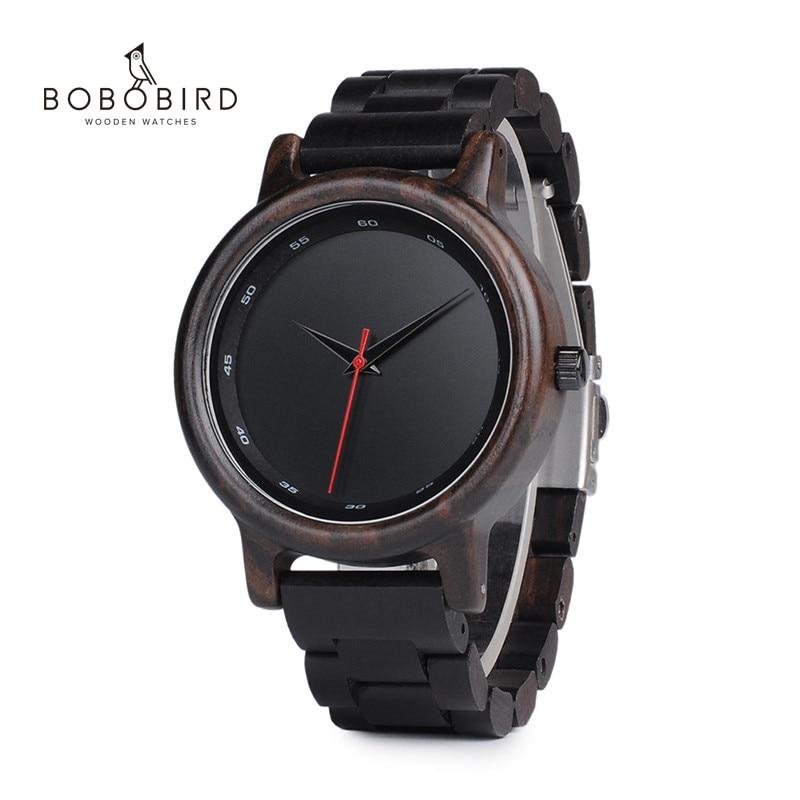 BOBO BIRD V-P10 Watches Men Natural Black Wooden Ebony Quartz Fashion Wristwatch With Red Second Hand