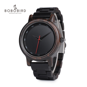 Image 1 - BOBO BIRD V P10 ساعات الرجال الطبيعية الأسود خشبية الأبنوس كوارتز موضة ساعة اليد مع الأحمر من جهة ثانية