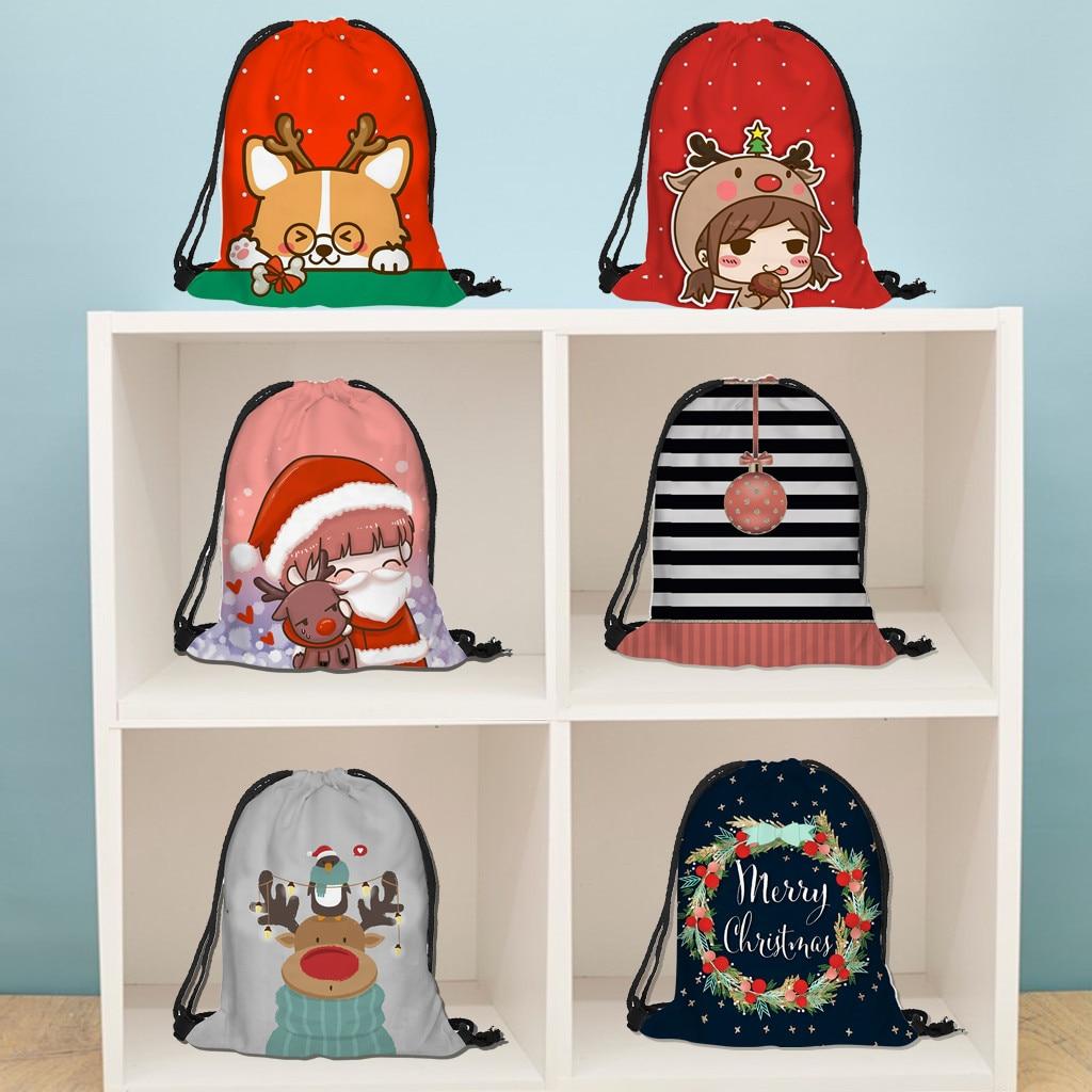 Christmas Gift Bag Casual Drawstring Bag Flower Printed Backpack Storage Cotton Backpack Drawstring Bag Girls Storage Bag
