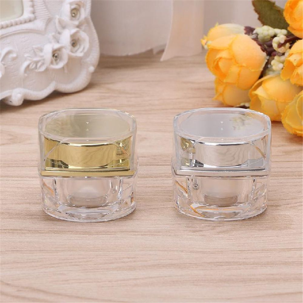 10G/5G Plastic Empty Cosmetic Jar Pots Face Cream Lip Balm Eyeshadow Makeup Container Refillable Bottles Gold/Silver Fashion