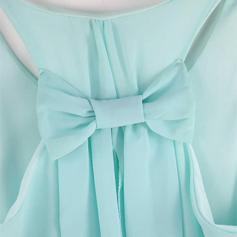Yaz elbisesi 2020 moda yay rahat kadınlar sundress düz renk plaj elbise şifon elbise kadın kıyafetleri vestidos artı boyutu