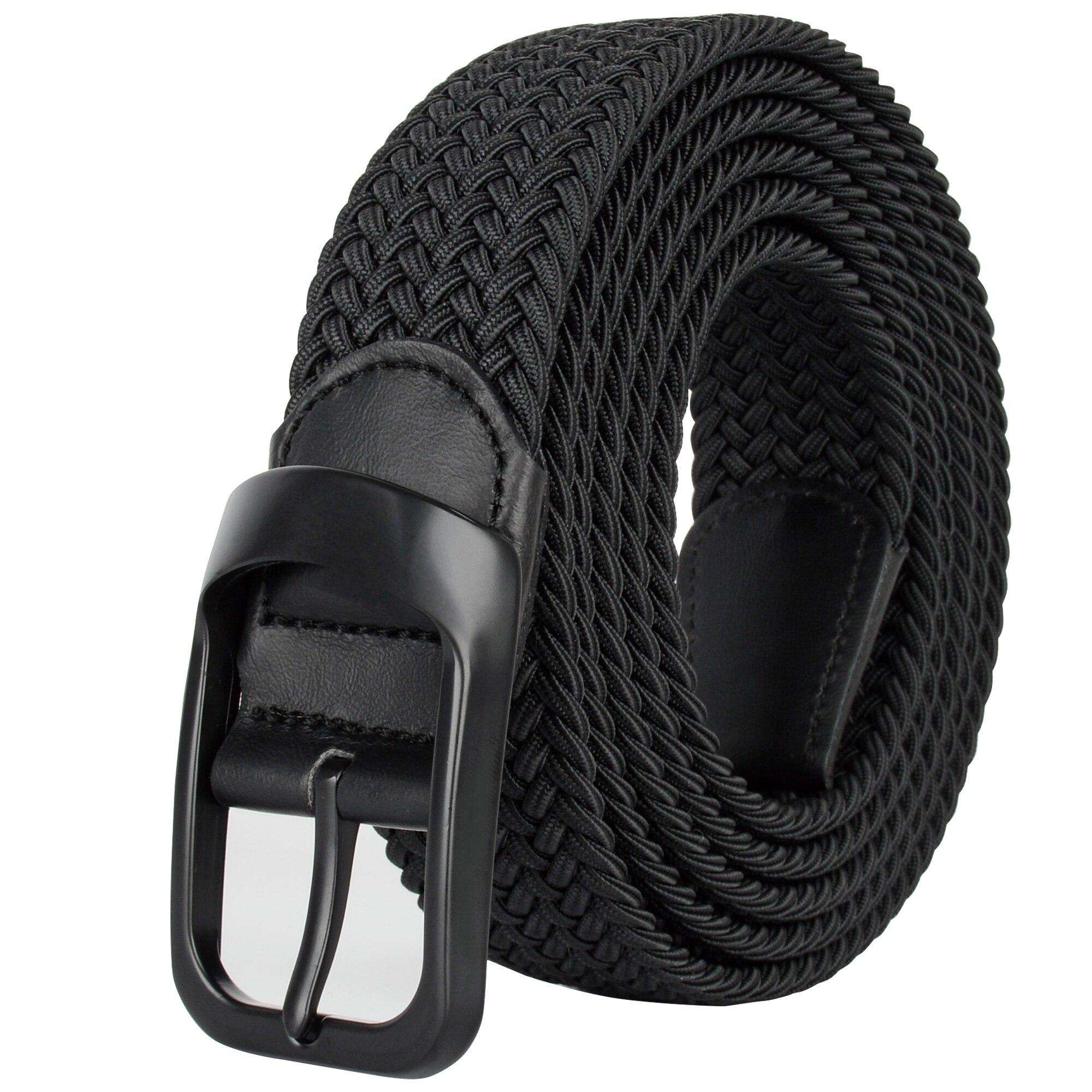 Drizzte Plus Size 100-190cm 190cm 63'' 67'' 71'' Long Black Braid Elastic Stretch Belt Mens Metal Buckle for Big and Tall Man