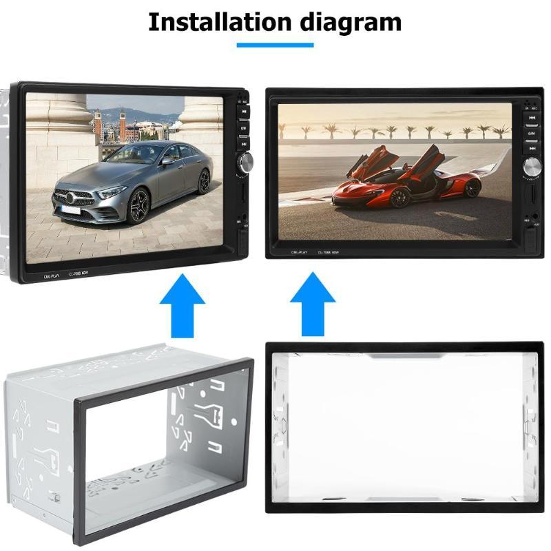 2 Din Autoradio Dvd-speler Ijzer Plastic Refit Vaste Universele Type Praktische Mount Frame Installeren Bezel Panel Trim Kit fascias