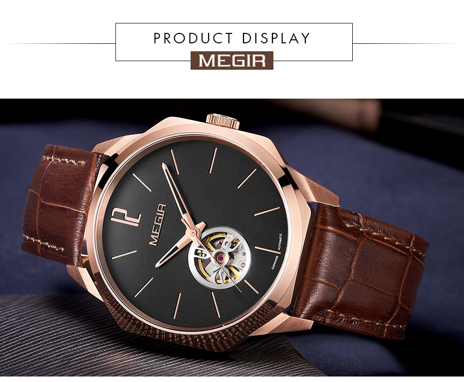 Hf55359acc1744fe581a1aa96d9d4209cI MEGIR Automatic Watch Men Mechanical Wristwatches
