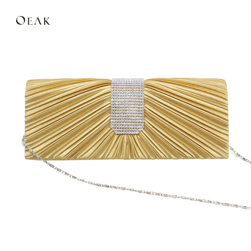 2019 New Fashion Women 39 s hold bags single shoulder slanting bag pleated glass drills dinner party bags in Clutches from Luggage amp Bags