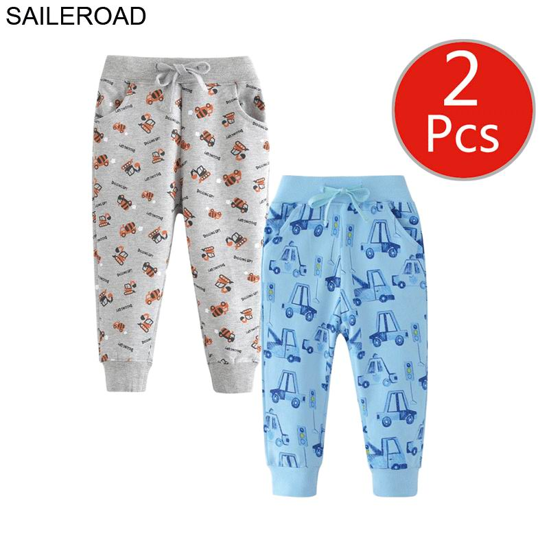 Image 5 - SAILEROAD 2pcs Kids Trousers Pants with Car Print 2019 Boys Sweatpants Full Length Spring Children Sweatpants for Boys Clothes-in Pants from Mother & Kids