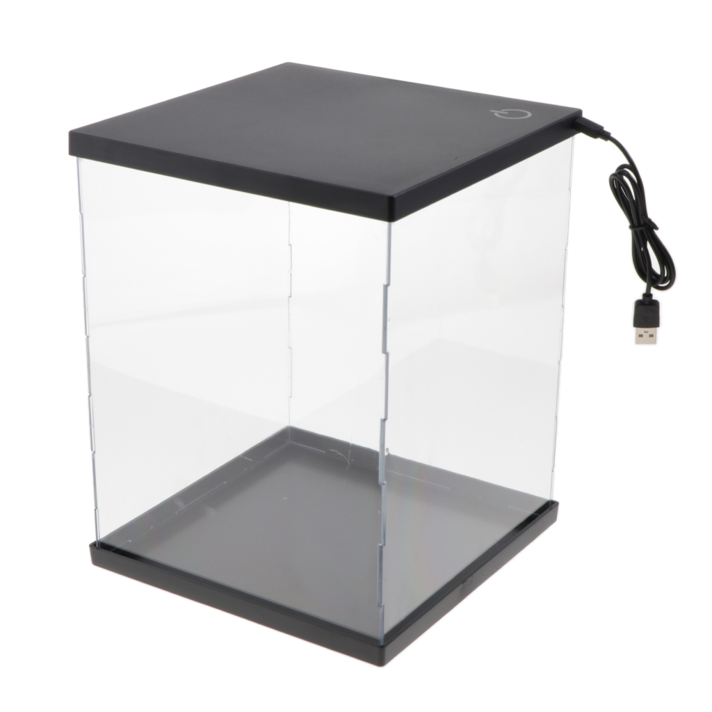 Clear Acrylic Display Case Auction Figures Dust-proof Protection Storage Box Showcase Stand Toy Model Protectors With Lights