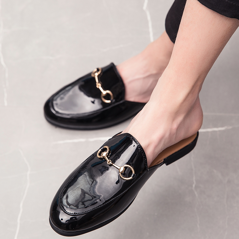 Womens Hollow Leather Backless Lazy Loafers Flats Slip On Mules Shoes Walking Slipper