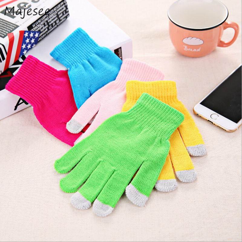 Winter Womens Gloves Candy Various Colors Women Mittens Cold-Proof Knitted Stretch Stylish Touchscreen Trendy Fashion Lovely