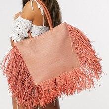 Sac à main bohème en raphia avec pompon pour femmes, fourre-tout de grande capacité en paille tissée de styliste, sacs de luxe en osier, sac à bandoulière d'été de plage