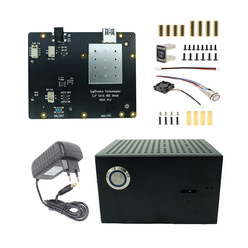 New X825 SSD&HDD SATA Storage Expansion Board + Case + Fan + 5V 4A Power Adapter For Raspberry Pi 4 Model B