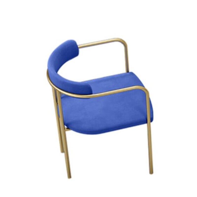 75*45*45 см высококачественное Скандинавское обеденное кресло из кованого железа, стул для конференций, стул с спинкой, стулья для отдыха - Цвет: Синий