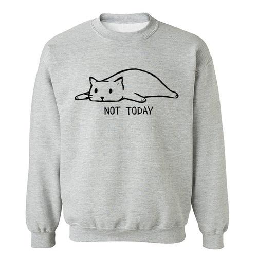 NOT TODAY Printed Sweatshirts Men 2019 Autumn Winter Fleece Warm Pullover Male Lazy Cat Funny Men's Sweatshirts Hoodie Hipster Lahore