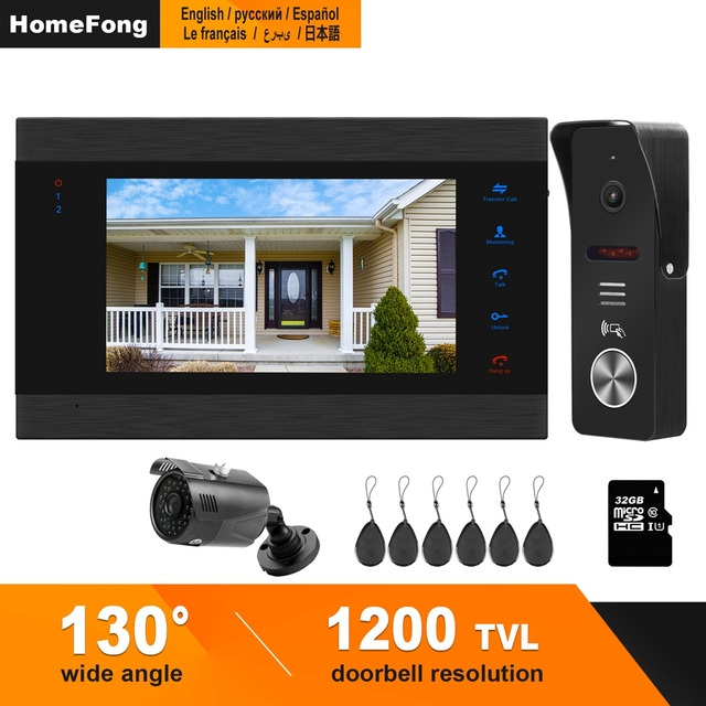 HomeFong проводной видео дверной звонок с CCTV камерой 7 дюймов монитор дверной Звонок камера видеодомофон для дома Поддержка обнаружения движения