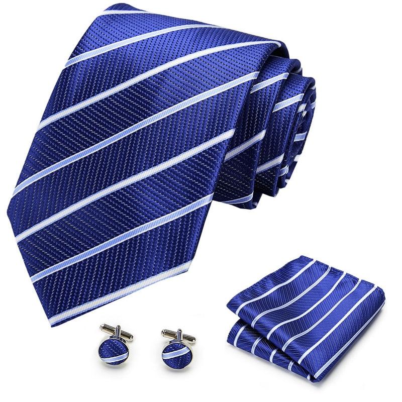 2020 New Mens Tie  100% Silk Classic Jacquard Woven Tie Hanky Cufflinks Set Men Formal Wedding Party Extra Long Size Neck Suit