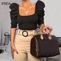 FSDA Square Neck Frauen T Shirt Short Puff Sleeve Backless Crop Top Sexy Damen Sommer Weiß Schwarz Casual Elegante Top koreanische 2020