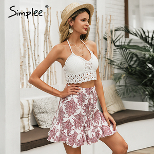 Image 2 - Simplee casual donne della stampa floreale mini gonna Lace up a line increspato femminile gonne corte signore di estate della Molla gonne vacanze 2020