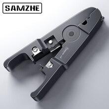 SAMZHE kabel szczypce do zdejmowania izolacji zaciskarka uniwersalna ściągacz do kabli, okrągły przewód, nóż i kabel płaski narzędzie do usuwania izolacji