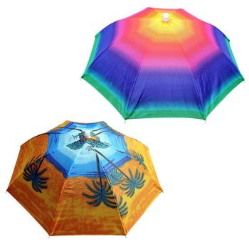 Przenośne sporty outdoorowe 55cm czapka parasolka czapka składana kobiety mężczyźni parasol wędkarstwo piesze wycieczki Golf Beach nakrycia głowy czapki wędkarskie tanie i dobre opinie WOMEN Drukuj Other Umbrella Hat Polyester steel wire plastic 8 bone As show 170T manual Dropshipping Wholesale