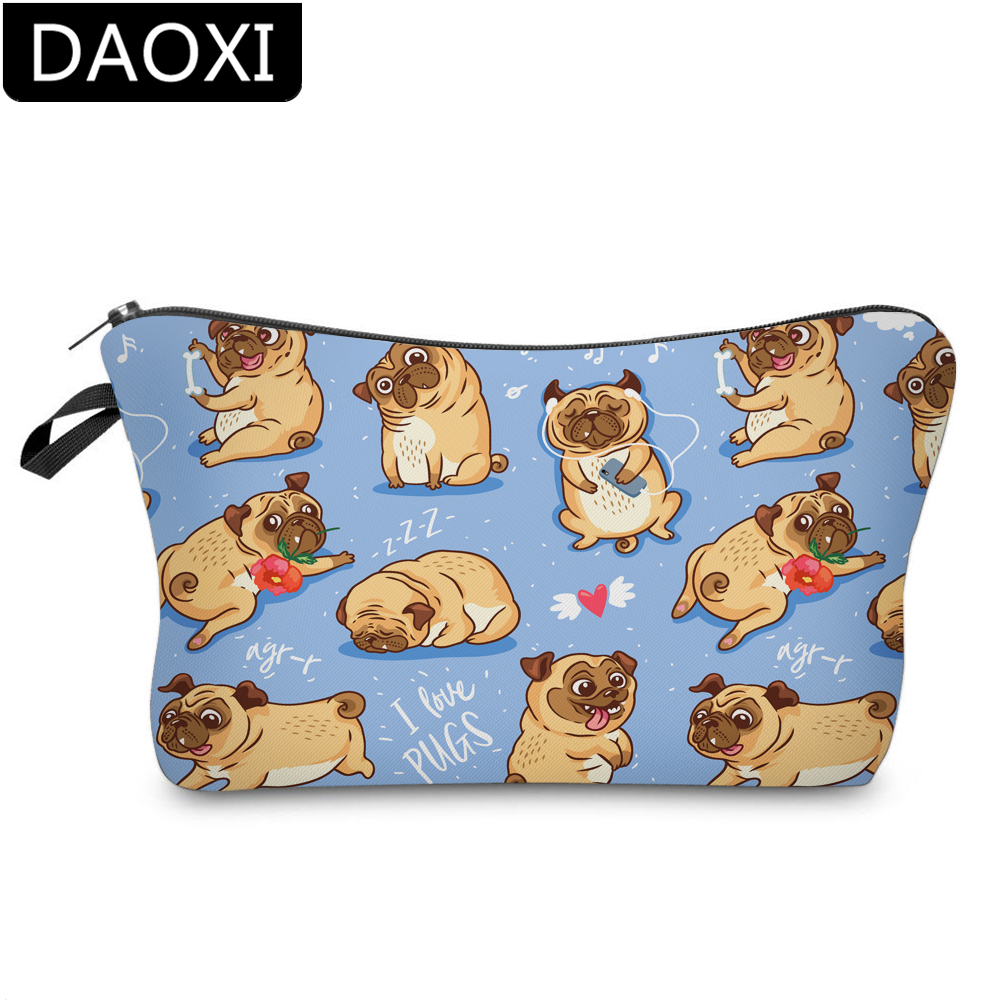DAOXI 3D Printing Rose Pug Cosmetic Bags Makeup Bag Waterproof Travel Toiletry Pouch For Travel DX51491