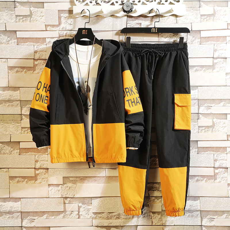 Patchwork Men's Sportswear Sets 2020 Autumn Spring Hoodies Male Casual Tracksuit Sweatshirt + Sweatpants Track Suit