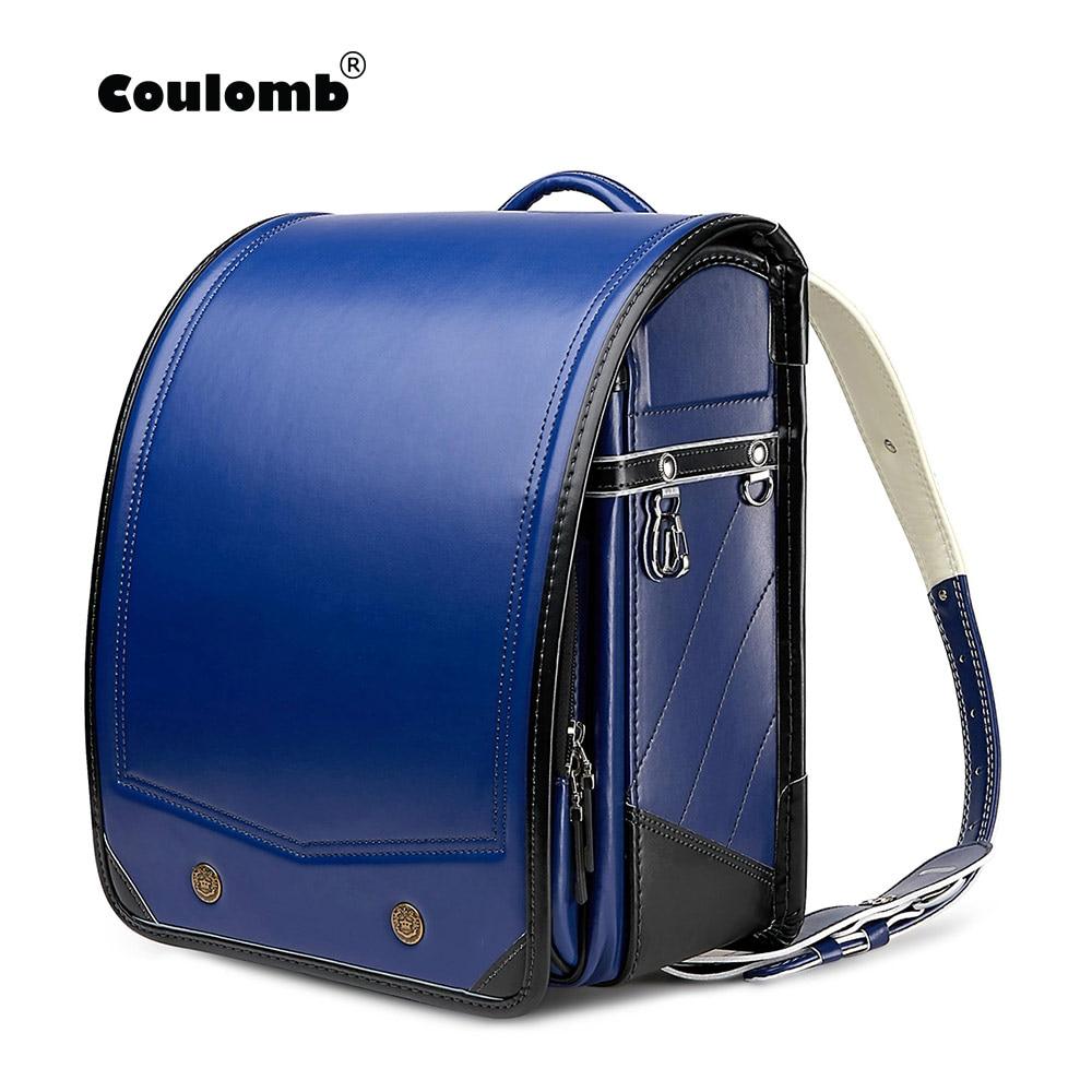 Coulomb Randoseru Children Backpack For Kids School Bags PU Pachwork Japanese Orthopedic Backpacks Mochila Infantil  Baby's Bags