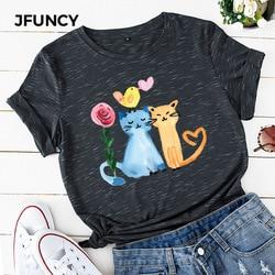 Jfuncy camiseta 100% algodão, feminina, com pintura a óleo, feliz gato, estampada, para o verão, de manga curta, plus size dropship
