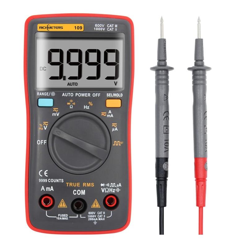 """RM109 Palmių dydžio """"True-RMS"""" skaitmeninis multimetras 9999 skaičiuoja kvadratinių bangų foninį apšvietimą kintamos srovės nuolatinės srovės įtampos ampermetro srovės omu Automatinis / rankinis"""