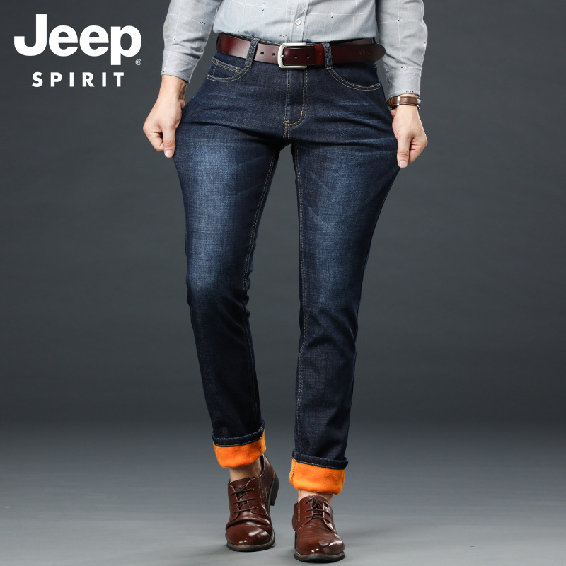 JEEP SPIRIT Jeans Men Winter Jeans Pants Men Fleece Thick Warm Denim Jeans Hombre Straight Cotton Smart Casual Mens Jeans Brand