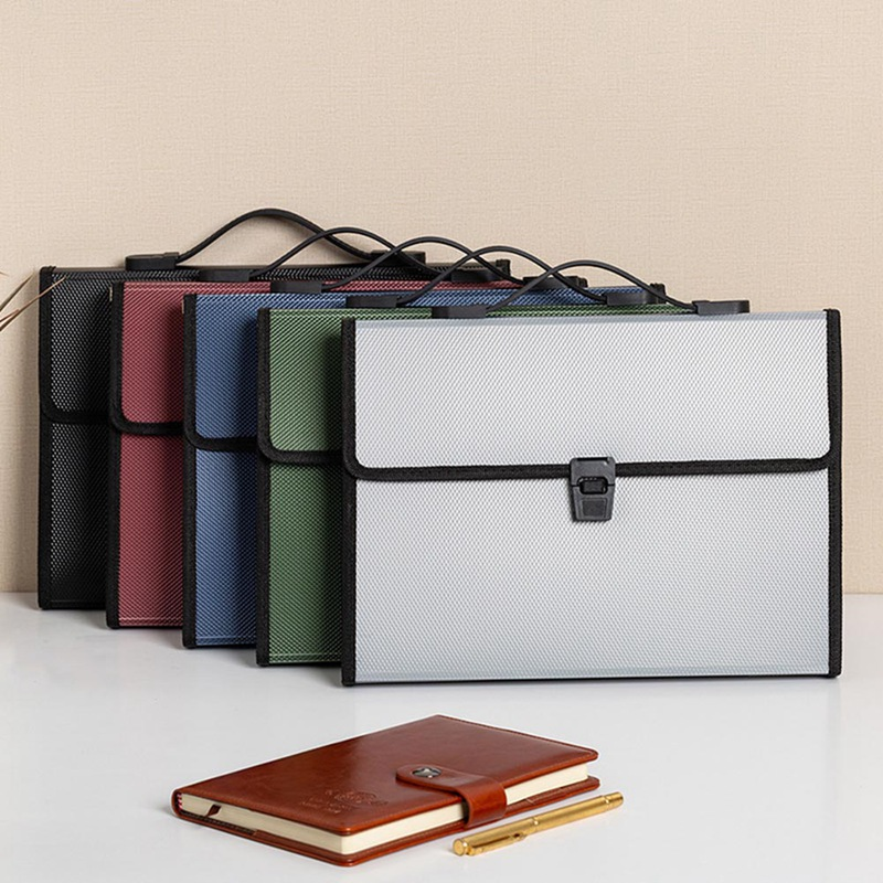 New Multi-layer Art Portable Package Student Paper Folder Buckle A4 Filing Storage 13 Into Document Bag Office School Supplies