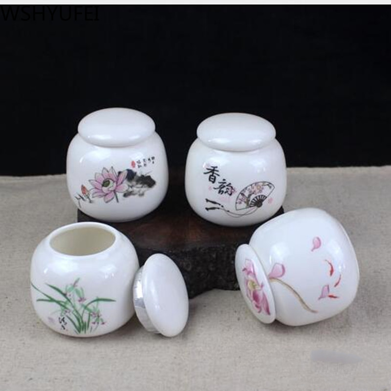 Hand Painted Ceramic Tea Cans Small Mini Portable Green Tea Sealed Cans Powder Ointment Can Storage Tanks Travel Tea Caddy