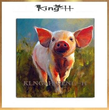 Pintura al óleo de cerdo Animal pintada a mano en lienzo pintor...