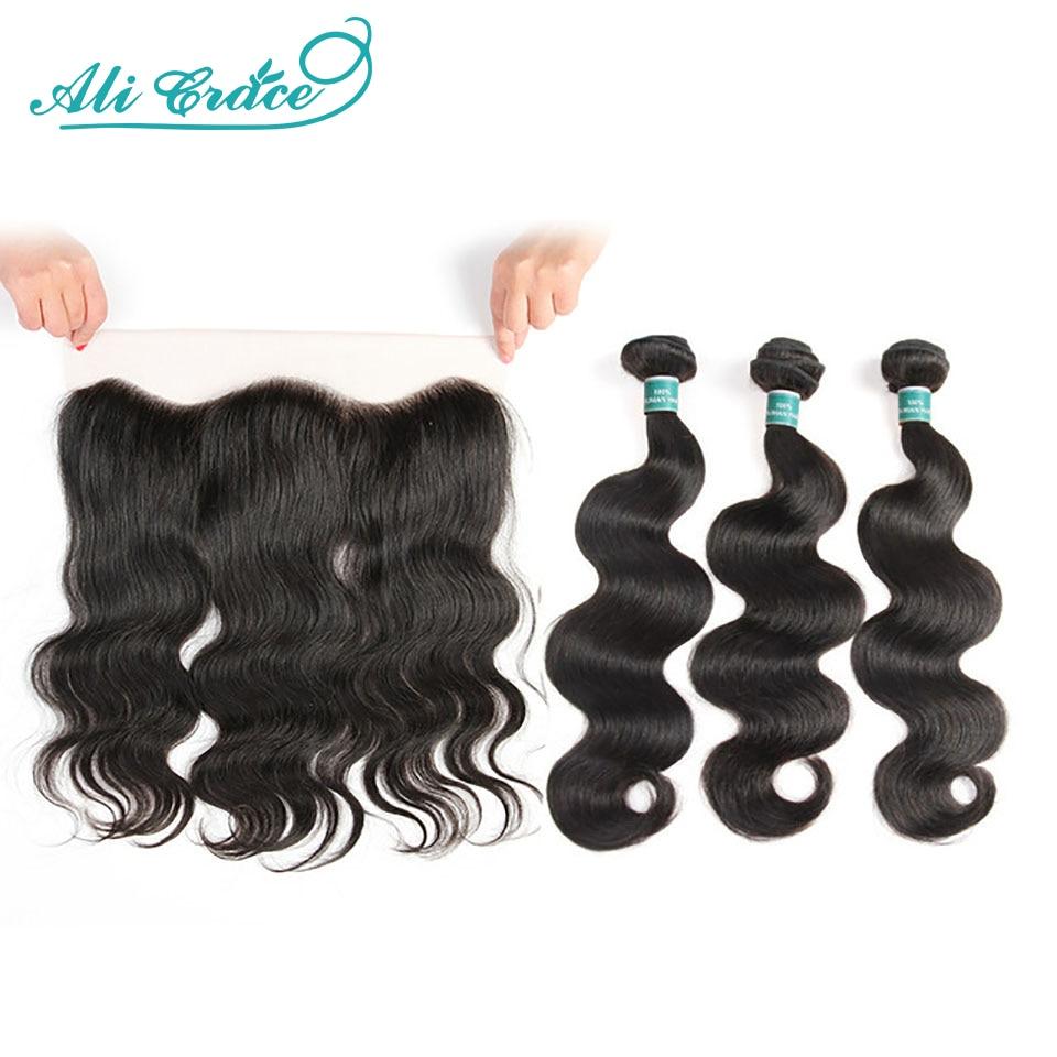 Ali graça cabelo brasileiro onda do corpo pacotes com fecho 3 pacotes de cabelo humano onda do corpo com frontal 13x4 parte livre remy cabelo