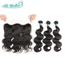 Mèches Body Wave naturelles Body Wave avec Closure-Ali Grace Hair, cheveux Remy en lot de 3, 13x4