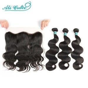 Ali Grace Hair Brazilian Body Wave Bundles With Closure 3 Bundles Human Hair Body Wave With Frontal 13x4 Free Part Remy Hair(China)