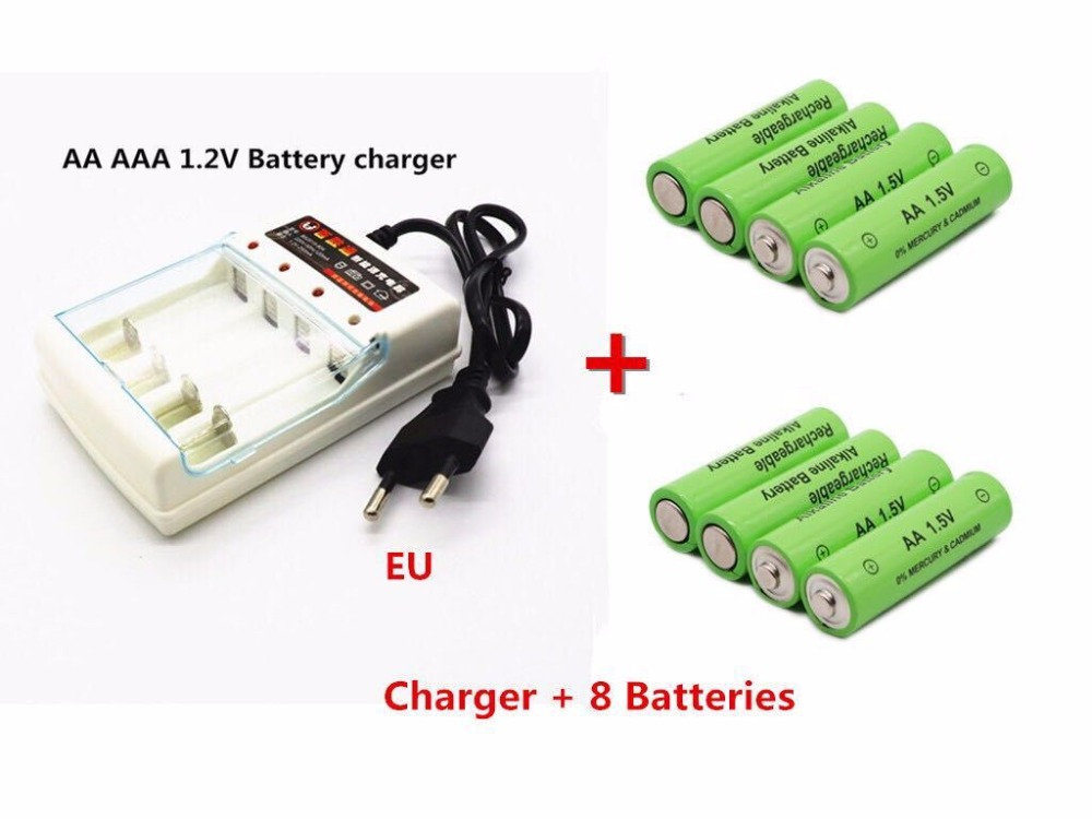 2019 New Tag 3000 MAH rechargeable battery AA 1.5 V. Rechargeable New Alcalinas drummey +1pcs 4-cell battery charger image
