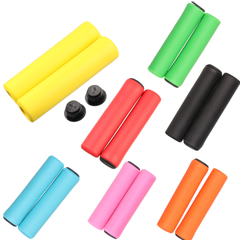 Orange Silicone 30g Bicycle Grips Pair New with plugs