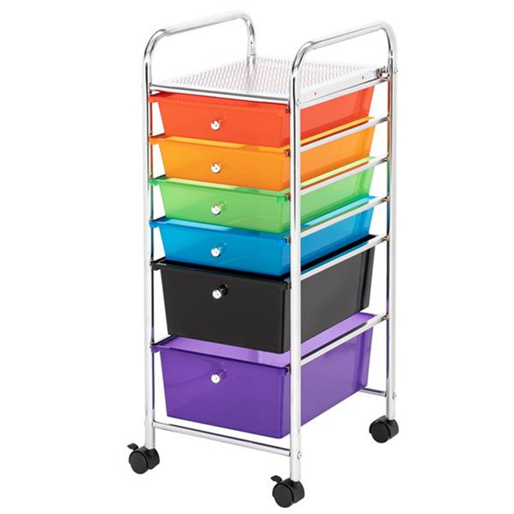 Multi-Color 6-Drawer Organizer Cart With 4 Universal Wheels(2 With Locks)  Colorful Box Storage Box For Home Office School