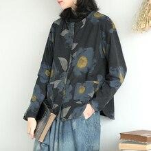 Johnature, Новинка осени, женское хлопковое повседневное пальто с длинным рукавом и карманами, однобортные женские куртки с круглым вырезом и принтом