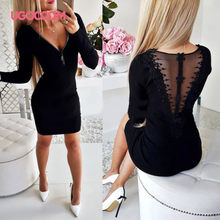 UGOCCAM Winter Dress Women Backless Autumn Dress Hollow Out Sexy Dress Elastic Force Ladies Dresses Slim Casual Dress Vestidos(China)