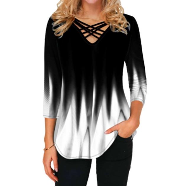 Blusa holgada de talla grande para Primavera, camisa holgada con gradiente de impresión 3D y cuello de pico cruzado para mujer, 2021 1