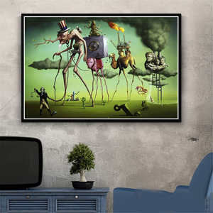 Poster And Prints Retro Psychedelic Painting Salvador Dali Surrealism Wall Art Abstract Pictures For Living Room Home Decor(China)
