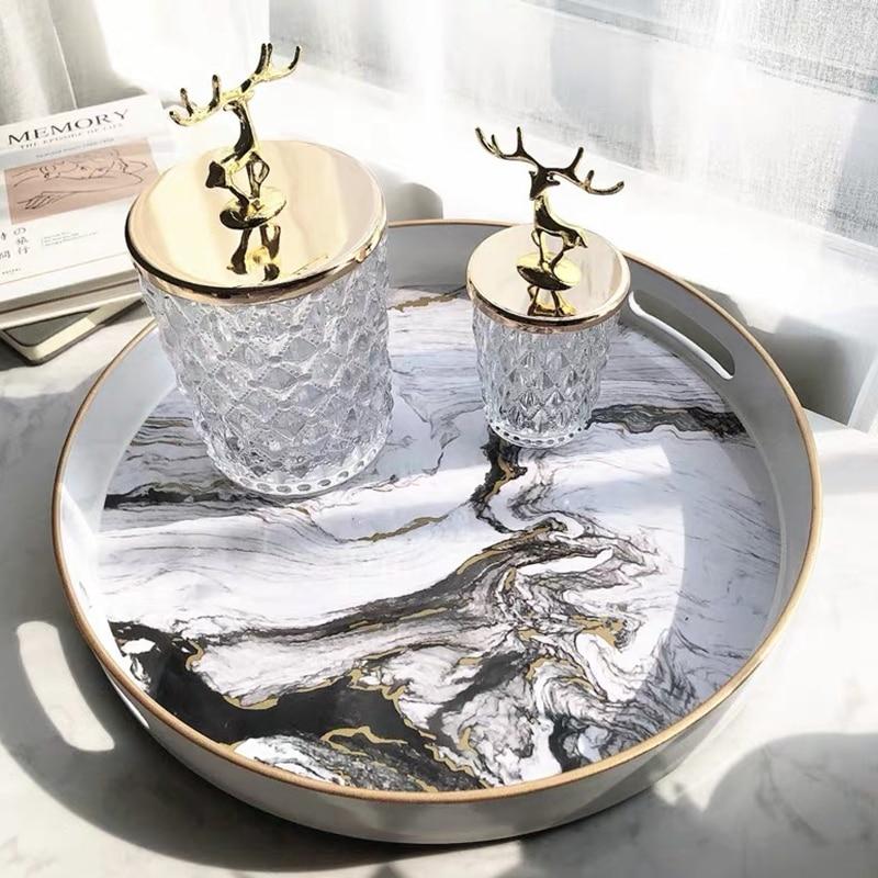 Поднос-органайзер для ювелирных изделий с золотой инкрустацией, роскошное домашнее украшение, прямоугольный мраморный сервировочный поднос-4