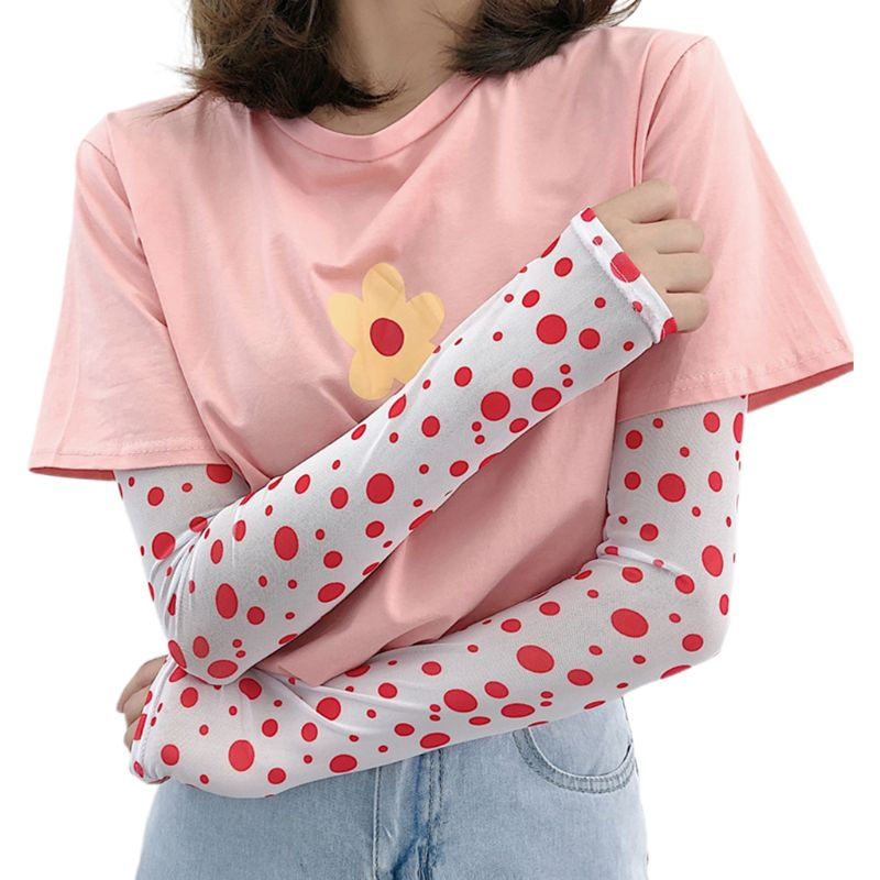 Kr Women Girl Summer Ice Silk Arm Sleeves Cover Retro Colored Polka Dot Print UV Protection Driving Cycling Sunscreen Gloves