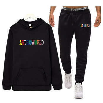 hot brand ASTROWORLD sweatshirt Tracksuit streetwear Men thermal Sportswear Sets Thick hoodie+Pants Sporting Suit Male men s sets hoodie and pants sweatsuit male sportswear tracksuit men set 2019 brand sporting suit track sweat print alpha jackets