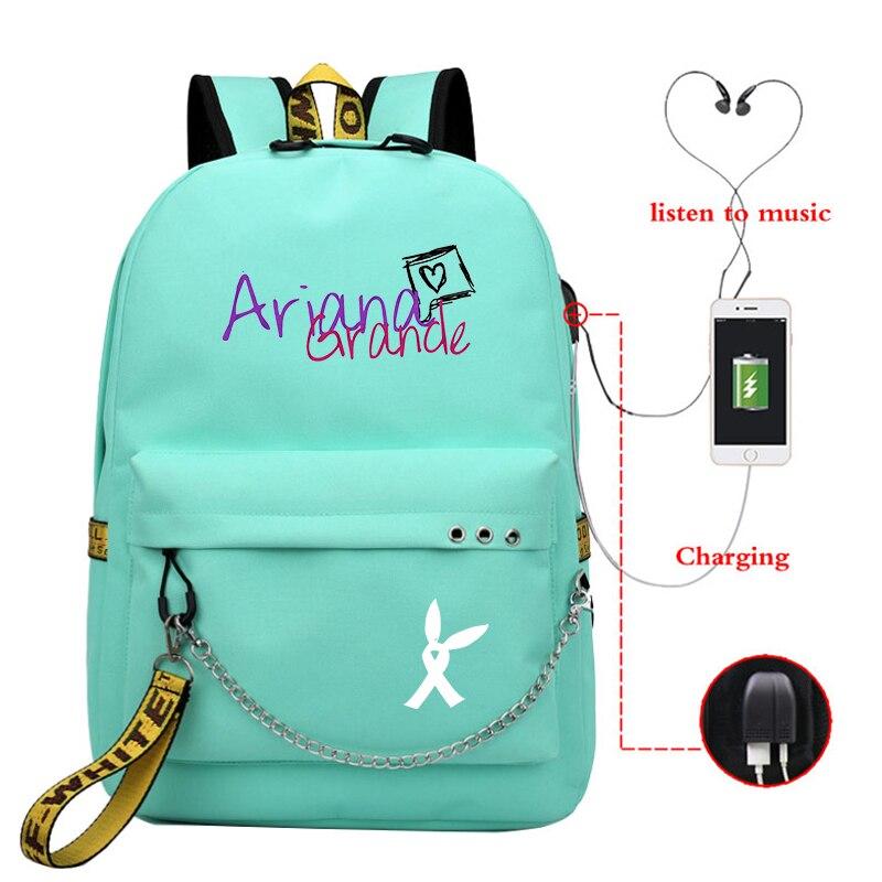 Ariana Grande Print Mochilas Bags Girls USB Charging Backpack School Bags College Bookbag Students Laptop Travel Rucksack Bag