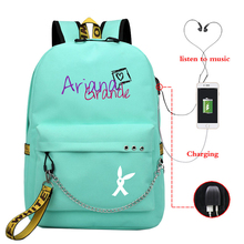 Ariana Grande Print Mochilas Bags Girls USB Charging Backpack School Ba