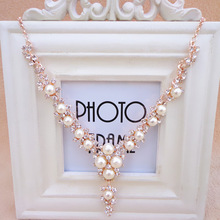 Elegant Quality crystal Necklaces For Women Jewelry Classic Temperament Wedding Necklace Pearl Cream Chain strollgirl classic necklaces